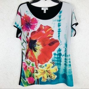 Dress Barn poppy lily floral tee